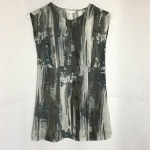 CAbi Watercolor Painted Sheer Sleeveless Tunic
